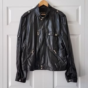 Versace Custom Made Black Leather Moto Jacket | L